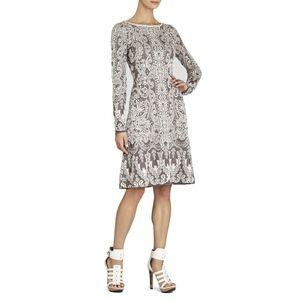 bcbg • petra jacquard fit flare knit sweater dress